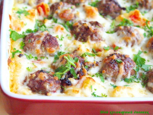 Рецепт                  Картофельная запеканка с фрикадельками