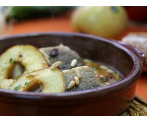 Рецепт                  Треска с яблоками