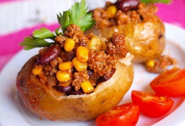 Рецепт                  Картофель, фаршированный мясом и красной фасолью