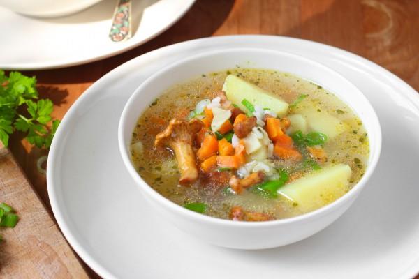 Рецепт                  Постный суп с грибами и рисом