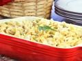 Запеканка из макарон с курицей и зеленым горошком