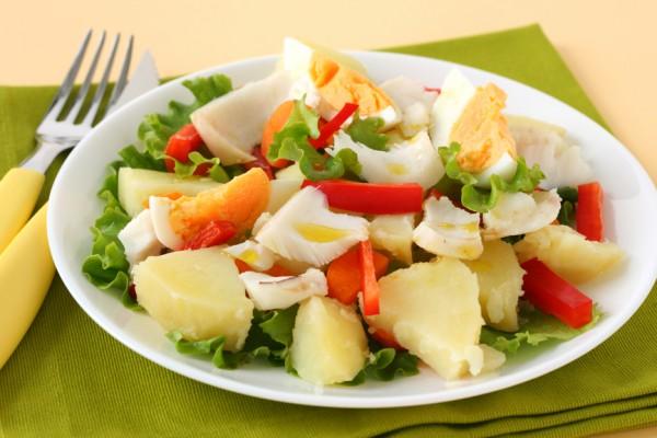 Рецепт                  Картофельный салат с помидорами и рыбой