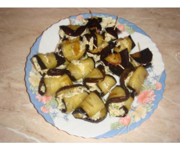 Рецепт                  Рулетики из баклажанов