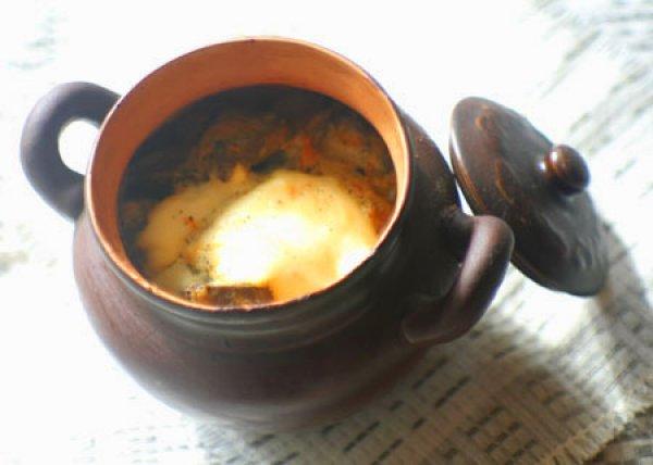 Рецепт                  Картофель с печенью в горшочках