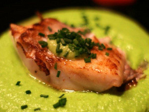 Рецепт                  Дорада с муссом-пюре из зеленого горошка