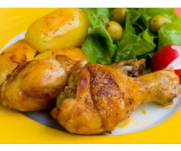 Рецепт                  Жареная курица с картофелем