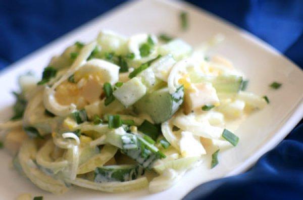 Рецепт                  Сырный салат с огурцами