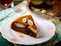 Шоколадный пирог с грушами без муки