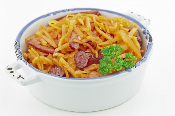 Рецепт                  Тушеная капуста с копченостями