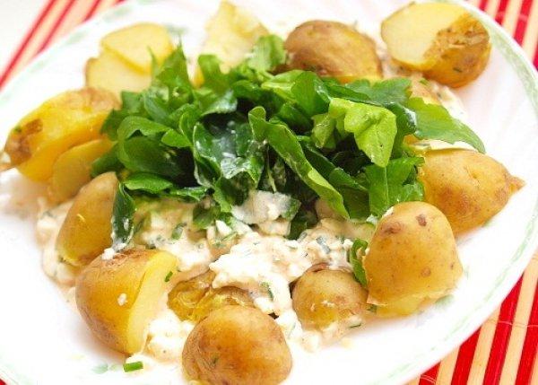 Рецепт                  Отварной картофель с творожным соусом