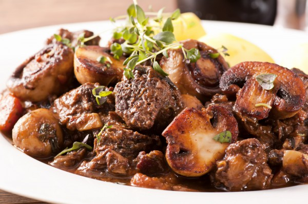 Жареное мясо с шампиньонами