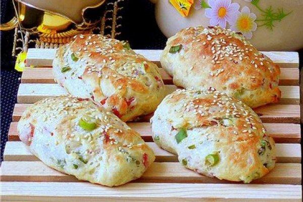 Рецепт                  Булочки для завтрака с ветчиной и зеленым луком