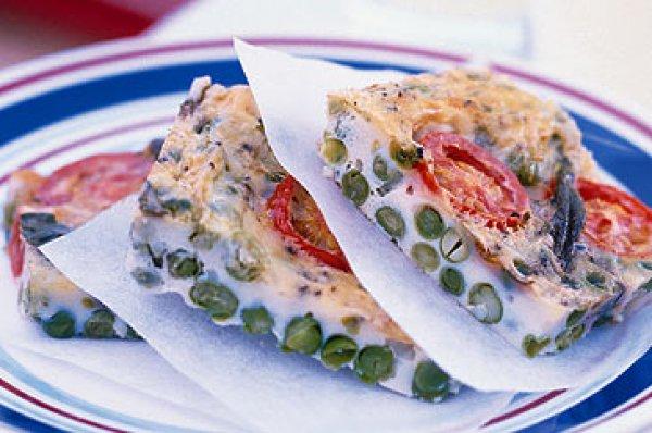 Рецепт                  Фриттата с зеленым горошком и помидорами