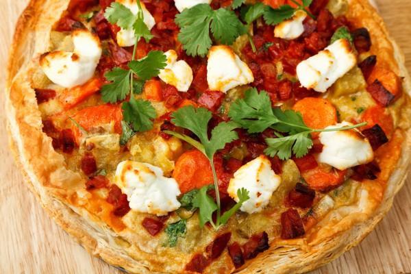 Рецепт                  Пирог с ветчиной и овощами