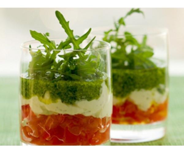 Рецепт                  Закуска из томатов, сыра и песто
