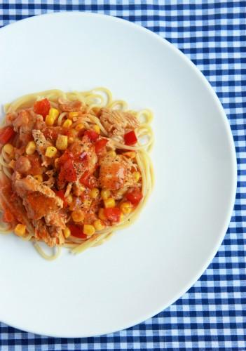 Рецепт                  Спагетти с индейкой в томатном соусе