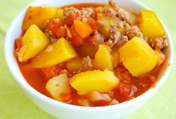 Рецепт                  Овощное рагу с мясным фаршем