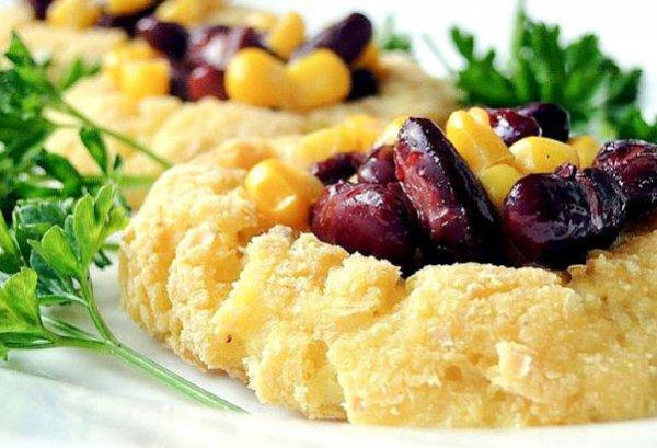 Рецепт                  Картофельные корзинки с красной фасолью