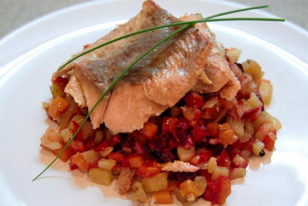 Рецепт                  Рыба с овощами, запеченная в фольге