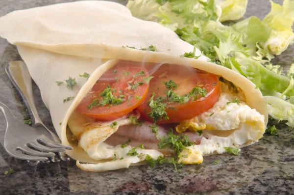 Рецепт                  Крепы с яичницей и ветчиной