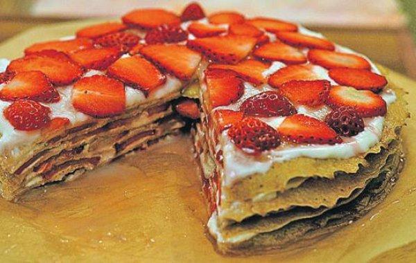 Рецепт                  Блинный торт с клубникой