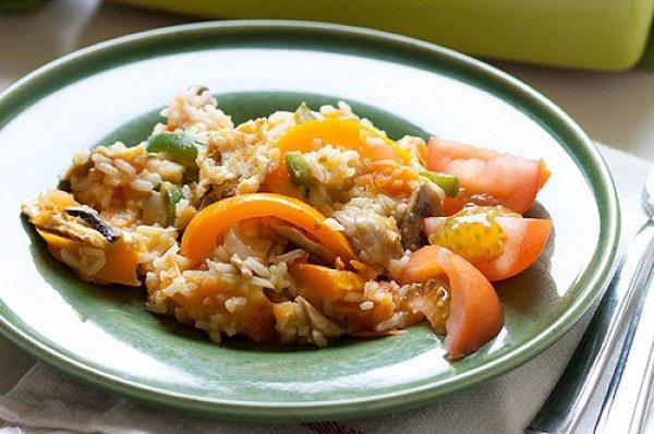 Рецепт                  Кантонский рис с грибами и овощами