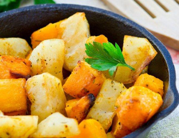 Рецепт                  Жареный картофель с тыквой