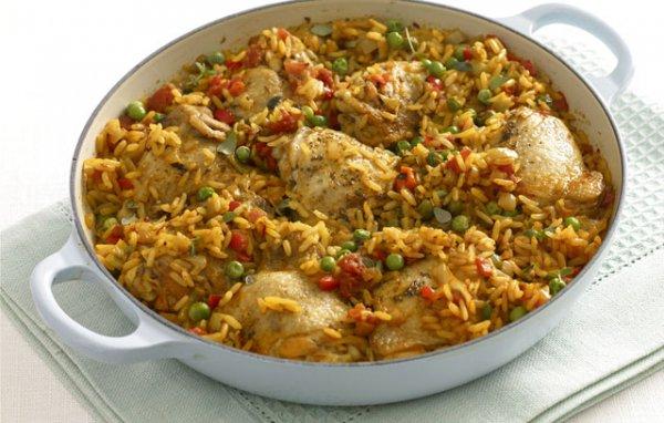 Рецепт                  Пряный рис с курицей и овощами