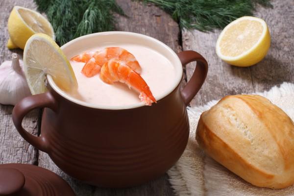 Рецепт                  Рыбный суп с креветками