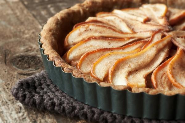 Рецепт                  Грушевый пирог с миндалем и абрикосовой глазурью