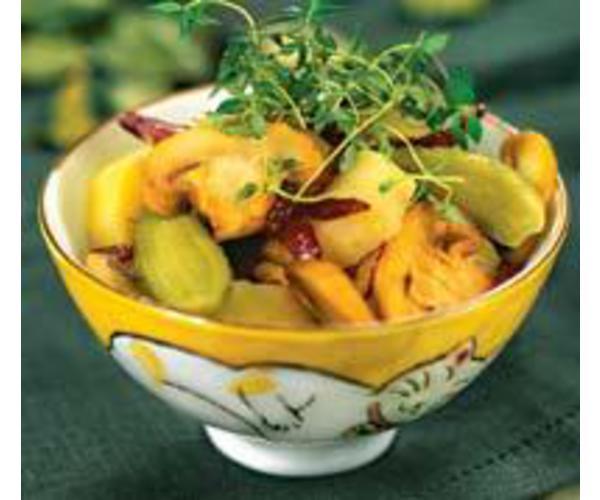 Рецепт                  Картофельный салат с солеными огурцами и грибами