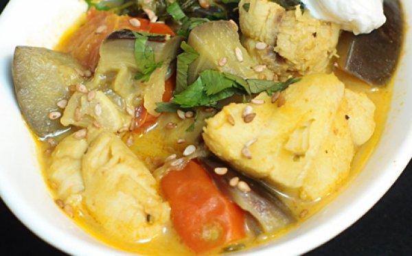 Рыба с овощами и йогуртом