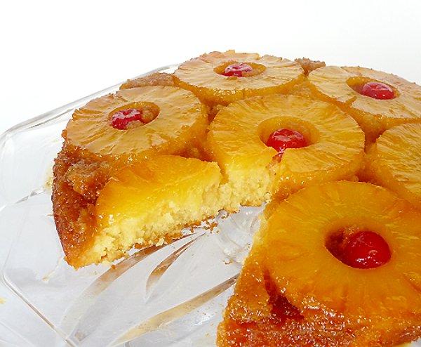 Рецепт                  Перевернутый пирог с ананасами и вишней