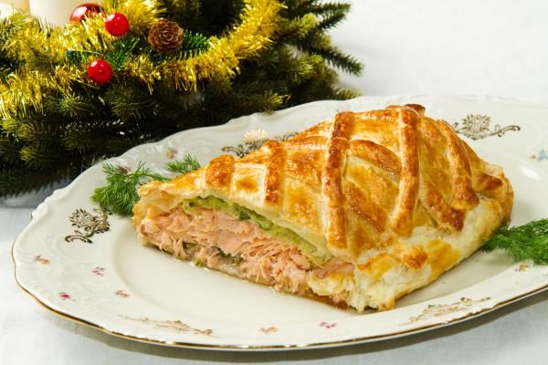 Рецепт                  Рецепты на Новый год: Пирог с лососем и шпинатом