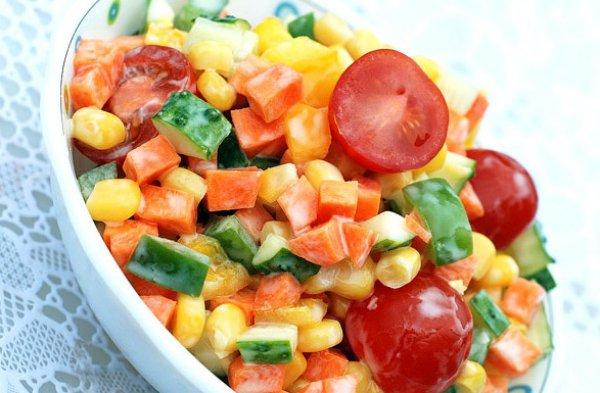 Рецепт                  Разноцветный овощной салат