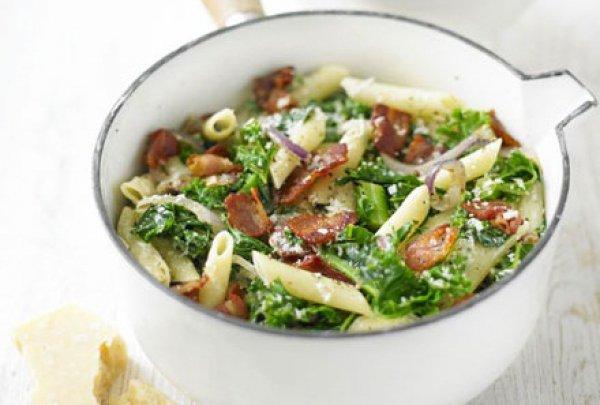 Рецепт                  Весенняя паста с беконом и зеленью