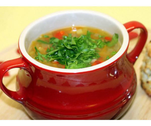 Рецепт                  Овощной суп с перловой крупой