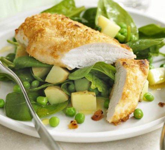 Рецепт                  Курица в сырной панировке с овощным гарниром