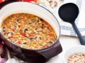 Суп из овощей с грибами и чечевицей
