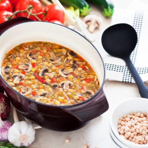 Рецепт                  Суп из овощей с грибами и чечевицей