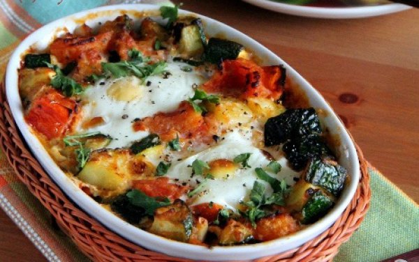Рецепт                  Яйца, запеченные с овощами