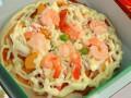 Пицца с сыром и креветками