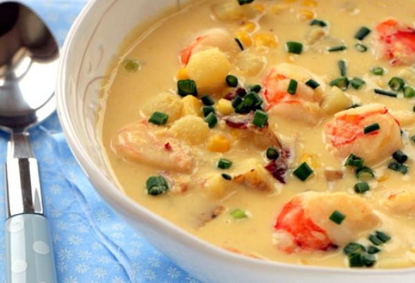 Рецепт                  Чаудер с кукурузой и креветками