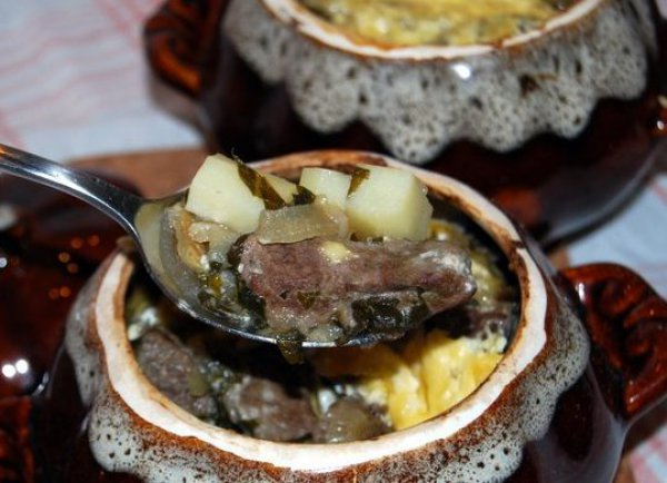 Рецепт                  Печень с картофелем в горшочках