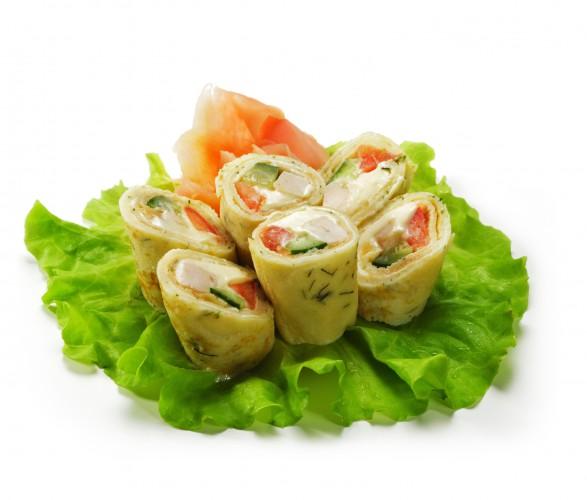 Рецепт Блинные роллы с курицей и овощами