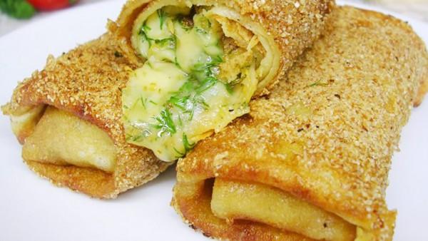 Рецепт                  Блины с сыром, жареные во фритюре