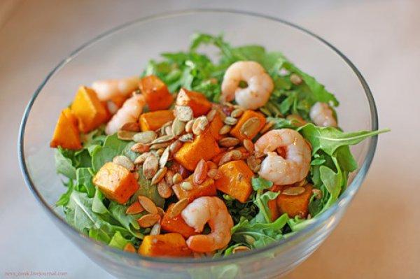 Рецепт                  Салат из рукколы с тыквой и креветками