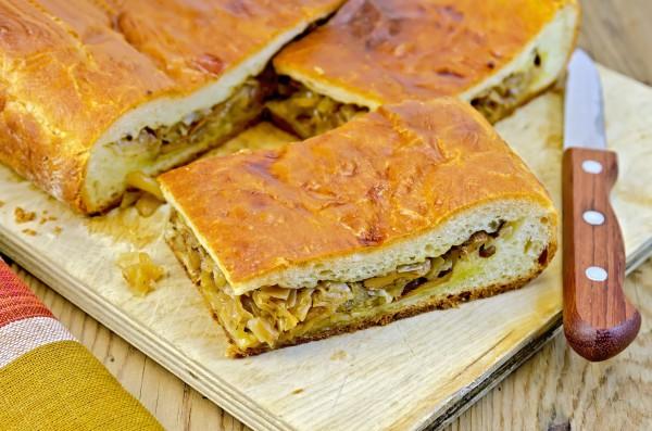 Рецепт                  Пирог с грибами и капустой
