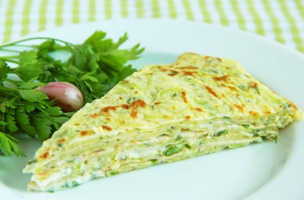 Рецепт                  Кабачковый торт с чесноком и зеленью