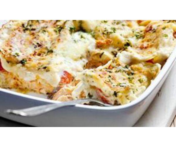 Рецепт                  Лазанья с лососем и укропом